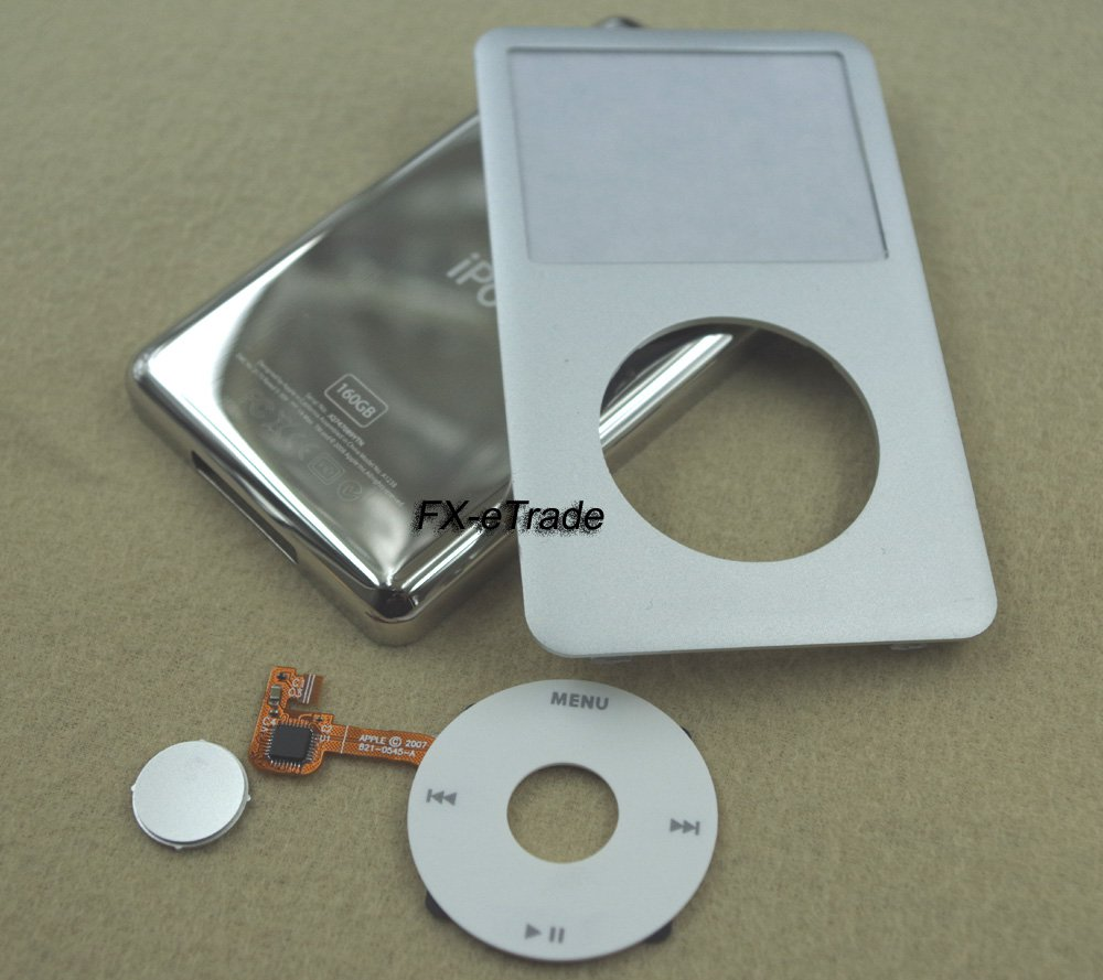 Silver Front Faceplate Cover Back Housing Case White Clickwheel for iPod 7th gen Classic Thin 160GB