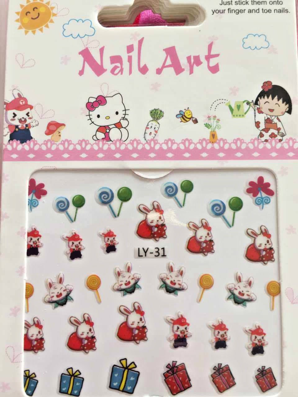 3D Nail Sticker Cute Cartoon for Children Beauty Art DIY Stickers Decal gift