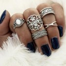 Get a Set of Five Of These Vintage Retro 5pcs Silver Gold and Jewel Joint, Finger, Knuckle Rings