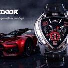 The Jaragar Sport Racing Design Geometric Triangle Design Genuine Leather Strap Men's Watches