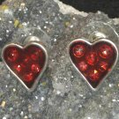 Red Heart Earrings (matchs necklaces I have listed) Pierced NEW