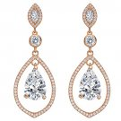 EVER FAITH 925 Sterling Silver CZ Birthstone Tear Drop Chandelier Earrings