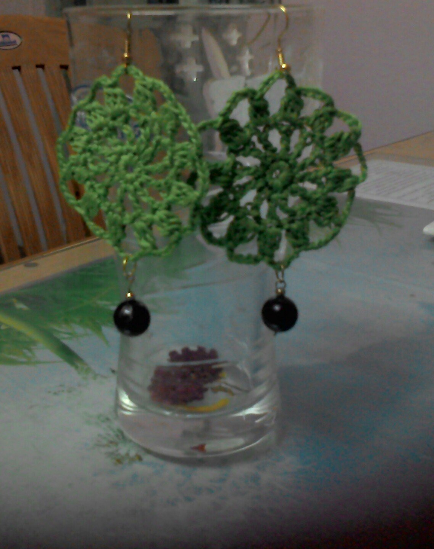 Hand Crocheted Green drops earring