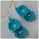 Hand Crocheted blue earrings