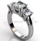 14k white gold three stone engagement ring, bridal ring, wedding ring ER-1069-1