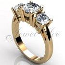14k yellow gold three stone engagement ring, bridal ring, wedding ring ER-1069-2