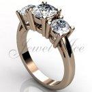 14k rose gold three stone engagement ring, bridal ring, wedding ring ER-1069-3