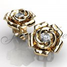 Flower Earrings - 14k yellow gold diamond unique flower Stud Earrings ERN-301-2.