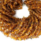 "3 Strands Cognac Color Hydro Gemstone Endless Chips 34"" Uncut Freeform Beads"