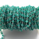 5 Feet Aqua Chalcedony Gemstone Faceted 4mm 925 Silver Plated Rosary Bead Chain