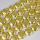"""5 Strands 20mm Round Coin Design Copper 24k Gold Plated Drilled Beads Strand 7"""""""