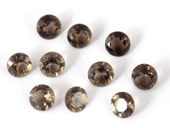 20 Pcs Lot 5mm AAA Smoky Quartz,Round Quartz, Faceted Quartz, Loose Gemstone