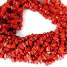 "3 Strands Red Coral Smooth Chips Hydro Gemstone Endless 34"" Long Uneven Beads"