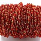 5 Feet Mandarin Garnet Hydro Faceted 2.5-3mm 24k Gold Plated Rosary Beads Chain