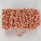 5 Feet Copper Pyrite Faceted 3.5-4mm Beaded Copper Wire Rose Gold Plated Rosary