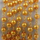 5 Feet Rich Gold Glass Pearl Rosary 4mm Smooth Chain Wire Wrapped Linking Beads