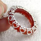 Red Onyx Round 28mm Gemstone 925 Sterling Silver Round Shape Pendant with Loop