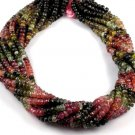 "1 Strand Natural Multi Tourmaline Faceted Rondelle 5-5.5mm Gemstone 15"" Long"