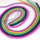 "5 Strands Mix Color Glass Pearl Rondelle 4-4.5mm 16"" Long Smooth Gemstone Beads"