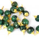 10 Pcs Green Emerald Corundum Gemstone 8.5mm Faceted Rondelle Wire Wrapped Beads