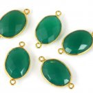 AAA 3 Pcs Green onyx Double Bail Connector - 12X16mm Oval Connector