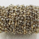 5 Feet Natural Pyrite Gold Pyrite 3-4mm Faceted 24k Gold Plated Rosary Beaded