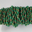 5 Feet Natural Green Onyx Faceted 3-4mm 24k Gold Plated Rosary Beaded Chain