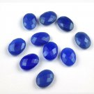 Wholesale 5 Pc Lot Natural Blue Chalcedony Loose Checker Cut Oval Shape Gemstone
