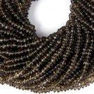 "5 Strands Natural Smoky Quartz Gemstone Rondelle 4-5mm 13.5"" Long Smooth Beads"