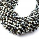 "5 Strand Black & White Gemstone Yellow Seed Beads 4mm-7x5mm Smooth 14.5"" Long"