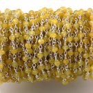 5 Feet Yellow Chalcedony Faceted Rondelle 3mm 925 Silver Plated Rosary Chain