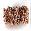 5 Feet Copper Pyrite Faceted Beaded Chain,Silver Plated 3.5-4mm Chain Rosary