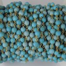 5 Feet Stabilized Turquoise Smooth 4mm Bead 24k Gold Plated Rosary Beaded Chain