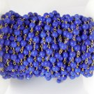 5 Feet Lapis Stablized Smooth 3.5-4mm 24k Gold Plated Rosary Bead Chain Jewelry