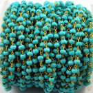 5 Feet Turquoise Gemstone Faceted 3.5-4mm 24k Gold Plated Rosary Beaded Chain