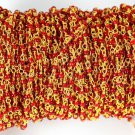 5 Feet Red Stone Stabilized Rosary Seed Beaded Chain 24k Gold Plated 2mm Beads