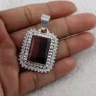 Natural Red Tiger Eye Cabochon Rectangle Gemstone 925 Sterling Silver Pendant