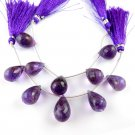 """1 Strand AAA Natural Amethyst Tear Drops 11x17mm-14x18mm Briolette Beads 5"""" Long"""