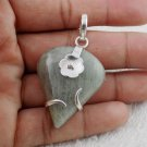 Natural Green Aventurine Pear Cabochon Gemstone 925 Sterling Silver Pendent