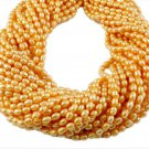 "5 Strands Yellow Freshwater Pearls Rice Shape Size 4x6mm Gemstone Beads 16"" Long"