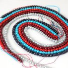 """5 Strands Mix Color Glass Pearl Gemstone Rondelle 4-4.5mm 16"""" Long Smooth Beads"""
