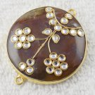 Natural Brown Agate Gemstone Kundan Work Bezel Double Bail Link Brass Connector