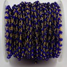 5 Feet Lapis Hydro Glass Seed Faceted 3-4mm 24k Gold Plated Rosary Beads Chain