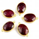 5 Pcs Ruby Corundum 12x16mm Faceted Gemstone Double Bail Loop Set Connector
