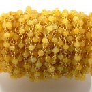 5 Feet Yellow Chalcedony Faceted Rondelle 3mm 24k Gold Plated Rosary Bead Chain