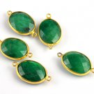 5 Pcs Green Emerald Faceted Double Bail Loop Bezel Connector 24K Gold Plated