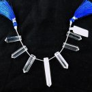1 Strand 7 Pcs Natural Crystal Reiki Drilled Single Pointed Clear Quartz Pencil
