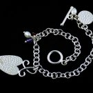 925 Sterling Silver Natural Amethyst,Garnet,Pearl Charms Bracelet With Claps