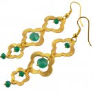 1 Pair Clover Green Onyx Hydro Brass 24kGold Plated Hanging Preety Women Earring