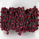 5 Feet Dyed Ruby Gemstone Faceted Rosary Black Oxidised Plated Handmade Chain
